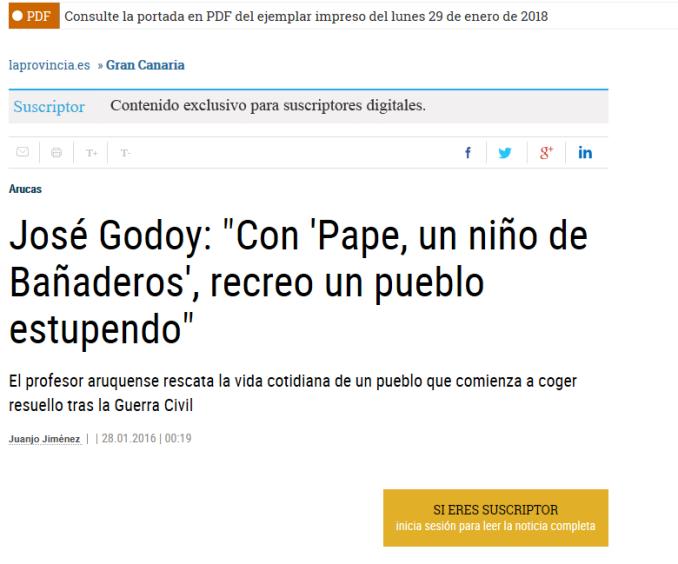 artículo la provincia digital sobre Pape